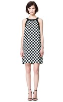 Women White&Black Chess Board Straight Shoulder Off Dress, DR3016-A02