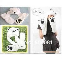 2014 Hot sale Fashion Cartoon animal Lovely cute fluffy Polar Bear Hat cap with mitten Muffler,white/pink/brown Free Shipping