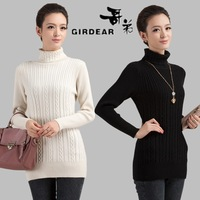 White sweater female slim basic sweater women's sheep thickening cashmere turtleneck sweater turn-down collar sweater