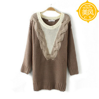 Fashion plus size vintage long straight V-neck design knitted sweater women's