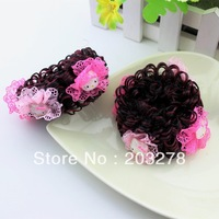 Hello Kitty wig elastic hair bands korean girls hair accessories children periwig hair bows 30pcs/lot