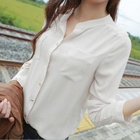 1pcs female long-sleeved chiffon blouse collar long shirt two pockets casual 3 size chiffon tops shirt