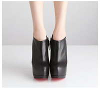 New Arrival Winter Black Hight Thin Heel Platform Shoes Plush Women Fashion Show Ankle Boots