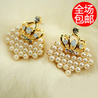 accessories pearl love stud earring, diamond beads love stud earring  for free shipping