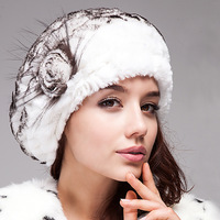 Free Shipping, 100%Real Rex Rabbit Fur Cap, Knitted Rex Rabbit Fur Hat, Natural Fur Beret*WHOLESALE & RETAIL SU-13122