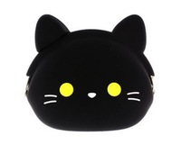 Cute black color cat  design attractive silicone coin wallet silicon purse women storage bag 10pcs/lot free shipping