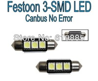 10pcs 36mm 3-SMD Canbus 6000K White Error Free / No Error LED License Plate Lights Bulbs