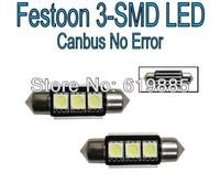 10pcs 36mm 3-SMD Canbus 6000K White Error Free / No Error LED License Plate Lights Bulbs