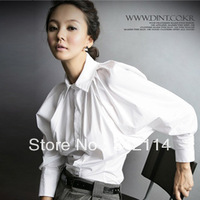 Modern batwing sleeve turn-down collar personalized white shirt