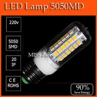 E27 9W SMD5050 AC 220V 48 pcs LED chips Led Corn bulb Cold / Warm White 580LM 4 360 degree Spot light e27 led bulb GSLED025