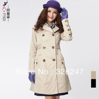 Honey mm plus size clothing 2081 new arrival elegant design double breasted long trench outerwear female