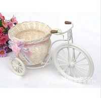 2pcs/lot PE storage rattan tricycle vase artificial flowers wedding decoration living room dining table (FL13004)