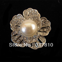 "1.6"" Rhodium Silver Clear Rhinetsone Crystal and Pearl Flower Brooch"