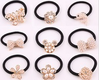 10 pieces/lot fashion pearl hair bow butterfly elastic hair bands crystal hair accessories for women hair jewelry hair ties