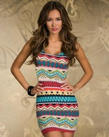 4 Colors Freeshipping 2013 New Fashion Women Sexy Vintage Printed Clubwear Tank Dress Summer Casual Dress N115