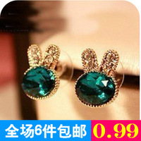 Gem exquisite diamond rabbit stud earring fashion accessories sea blue diamond earring earrings