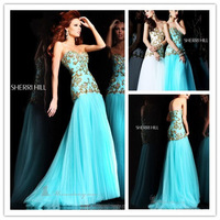 New Strapless Beaded Evening Dress Fashion Mermaid/Trumpet Sweetheart Long Tulle Prom Party Dress B302