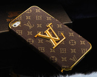 1 piece new arrive luxury 3D gold logo leather cover case for iphone 4 4s g bag