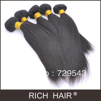 3 Pieces Lot 100%  Indian human hair 8-30 inch Natural Color Straight Hair Extensions Color 1B# Hair Weft Can Not be Colored