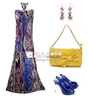 Fashion vintage leopard print sexy tube top ultra halter-neck long dress beach dress