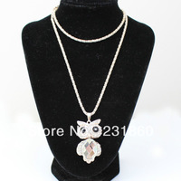 1 X New Design Silver Plated Cut Gem Crystal Fold Wing Owl Pendants Necklace