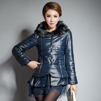 Women's PU clothing slim fashion fur collar medium-long thickening plus size clothing outerwear