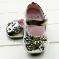 Free Shipping! Silver diamond flowers cotton soft bottom fashion baby walking shoes . 3 pairs/lot.