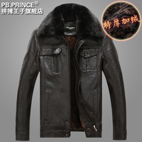 Leather clothing male leather jacket casual men's clothing outerwear plush fur collar leather clothing plus size thickening