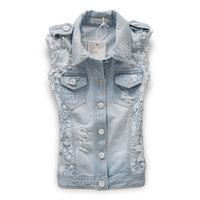 HOT Women Lady Clothes Lace stitching Short denim vest Jean Jacket Top Coat J_2