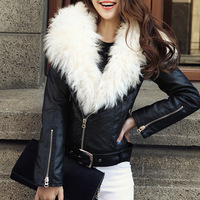 Winter leather clothing female big berber fleece sheep PU clothing black fur leather clothing