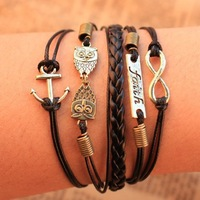 Min order 10usd ( mix items ) Christmas gift Fashion Multilayer Bracelet  owl infinity Anchor  Bracelet