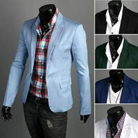 Mens Casual one button suits TOP Design Sexy Slim FIT Jacket Coats Suits M-XXXL Free Shipping men cotton sky blue blazers