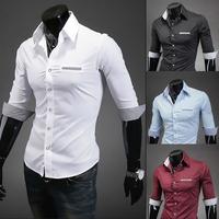 New Fashion Korean Casual Slim Fit Men's Shirt 4 Colors Turn-down Collar Polo Shirts for Men Size M-XXL Free Shipping C14
