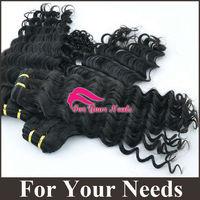 "wholesale cheap Peuvian virgin hair deep wave human hair weft 10pcs lot,8""-24"" in natural black color 10 bundles human hair"