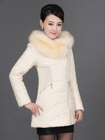 2013 autumn and winter genuine leather clothing female fox large fur collar genuine leather coat medium-long down slim women's