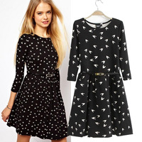 2013 drop shipping bird pattern three quarter sleeve dress with belt