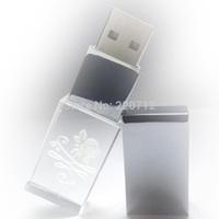 Creative Crystal Transparent LED With customized Logo 8gb 32GB USB Flash2.0 Memory Stick Free Shipping
