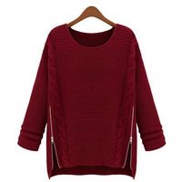 2013 women's long design batwing shirt outerwear thickening sweater loose pullover sweater