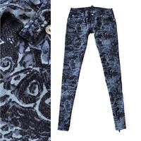 free shipping 2013 unique owl print slim zipper decoration Women dc183 jeans