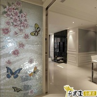 Glass mosaic ice onyx mural parquet entranceway tile background wall