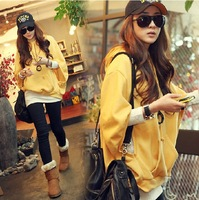 2013 spring and autumn casual t-shirt twinset female loose batwing sleeve medium-long top sweatshirt hooded sweater