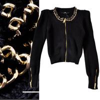 free shipping 2013 autumn neckline gold chain sleeves zipper decoration slim knitted short jacket Women 0198