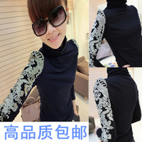 Double 12 plus velvet embroidery elegant slim turtleneck long-sleeve thermal basic blousier t-shirt