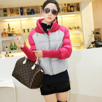 Yarn patchwork cotton cloth wadded jacket female women's plus size cotton-padded jacket stand collar slim waist long sleeve rib