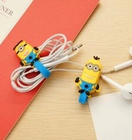 Wholesale Despicable Me Milk earphones data cable winder cable small earphones line storage device cartoon(10pcs/lot)