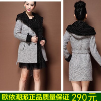 Woolen outerwear overcoat female 2013 autumn and winter women's slim turn-down collar wool