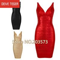 (DEIVE TEGER) Free shipping 2013 Newest V-neck Golden red  black Bandage Dress HL  Evening prom Dresses HL868