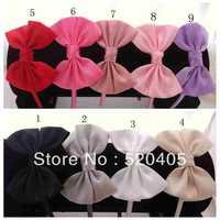 New Sale small Girls Satin Ribbon hair band Big bow solid hair bands for women plastic headband baby headbands 20PCS