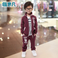 Sunfed children's clothing male child autumn and winter 2013 child casual set child fleece sports set