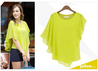 Free shipping new arrival fashion asymmetric flounced chiffon short-sleeved blouse women shirt #S0261